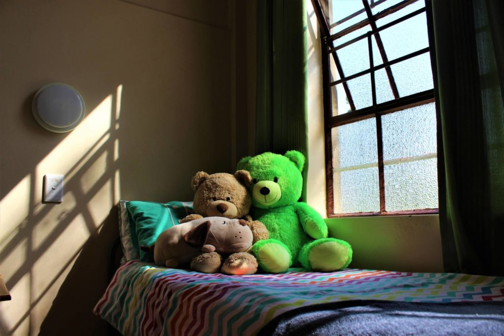 Boarding room with teddy bears and a rainbow blanket.